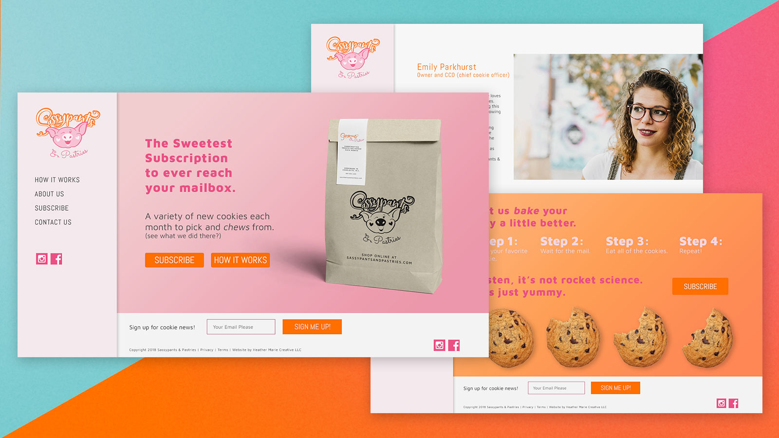 SassyPants & Pastries Subscription web design collage