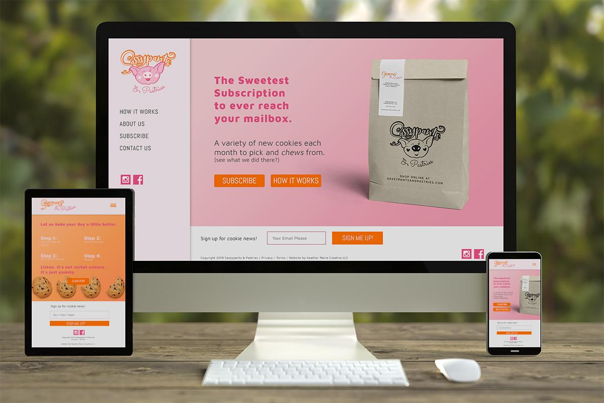 SassyPants & Pastries Subscription website mockups