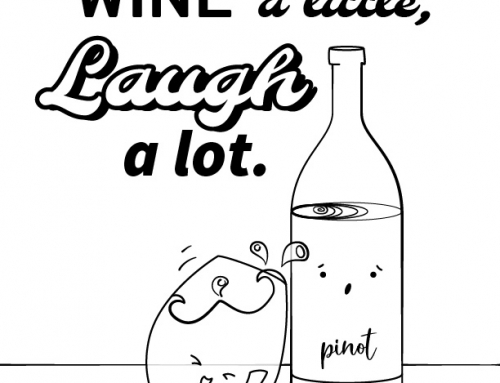 Kawaii Wine a Little: Coloring Page
